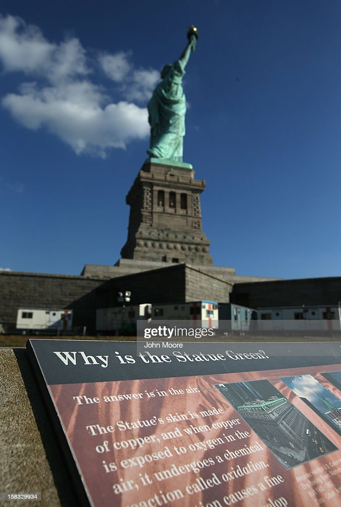 The Statue of Liberty remains closed to tourists six weeks after Hurricane Sandy on December 13, 2012 in New York City. The storm caused extensive damage to National Park Service facilities on Liberty Island, although the statue itself remained unscathed. Secretary of the Interior Ken Salazar toured the island Thursday while visiting the area to see damage caused by the storm.