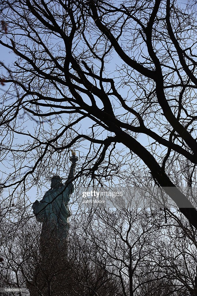 The Statue of Liberty remains closed to tourists six weeks after Hurricane Sandy on December 13, 2012 in New York City. The storm caused extensive damage to National Park Service facilities on Liberty Island, although the statue itself remained unscathed. U.S. Secretary of the Interior Ken Salazar toured the island Thursday while visiting the area to see damage caused by the storm.