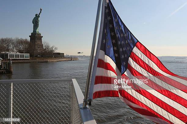 The Statue of Liberty which remains closed to the public six weeks after Hurricane Sandy on December 13 2012 in New York City The storm caused...