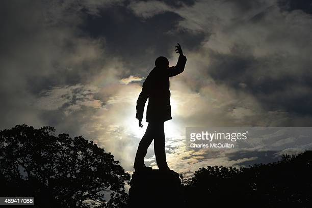 The statue of Lord Carson can be seen looking over the Stormont estate on September 21 2015 in Belfast Northern Ireland The Northern Irish political...