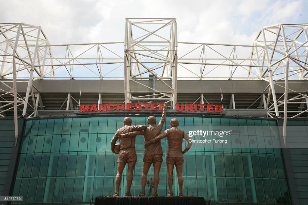 The statue of Manchester United's 'Holy Trinity' of players stands in front of Old Trafford after being unveiled today on May 29 Manchester England...