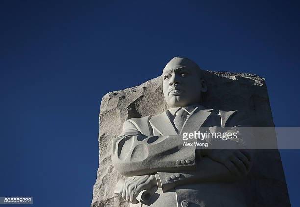 The statue of Martin Luther King Jr is seen at Martin Luther King Jr Memorial January 18 2016 in Washington DC The nation observes the life and...