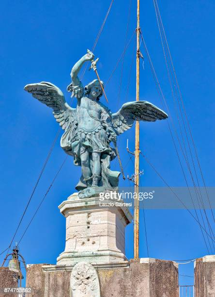 The statue of Michael archangel is seen at Castel Sant'Angelo on November 1 2017 in Rome Italy Rome is one of the most popular tourist destinations...