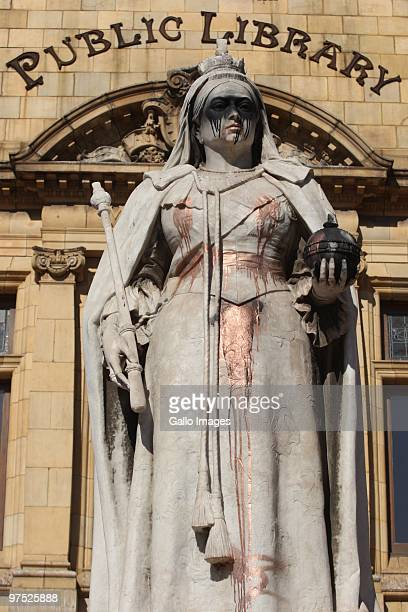 The statue of Queen Victoria that stands in front of the library in Port Elizabeth is vandalized after British tabloids reported negatively on...