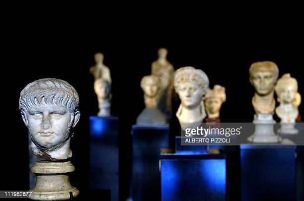 The statue of Roman Emperor Nero is pictured at the exibition 'Nero' in Rome on April 11 2011 Nearly two hundred pieces including sculptures reliefs...