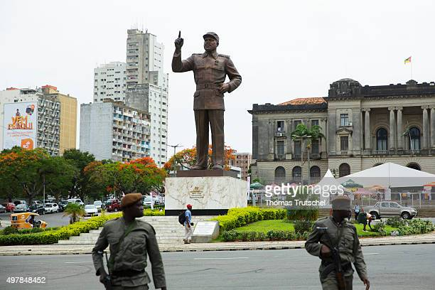 The statue of Samora Machel the first president of the Republic of Mozambique stands on a square in the city center on November 19 2015 in Maputo...