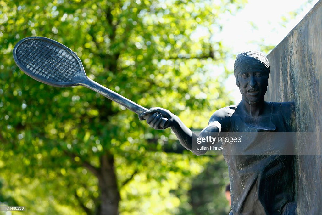 The Statue of Suzanne Lenglen is seen prior to the 2015 French Open at Roland Garros on May 23, 2015 in Paris, France.