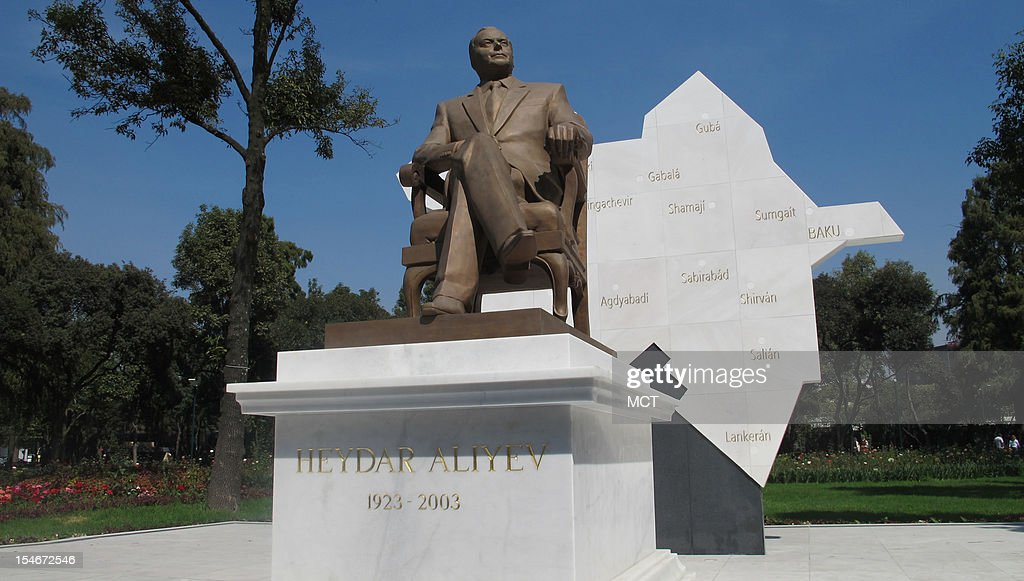 The statue of the former strongman ruler of Azerbaijan, Heydar Aliyev, sits at the entrance to Mexico City's Chapultepec Park, October 23, 2012.