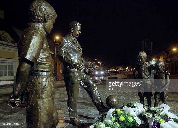 The statue of the legendary HungarianSpanish football player Ferenc Puskas with three Spanish kids is seen at Puskas square of Budapest during an...