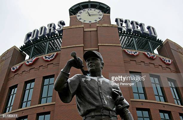 The statue of 'The Player' is dusted with snow outside the stadium as Game 3 of the National League Division series between the Philadelphia Phillies...