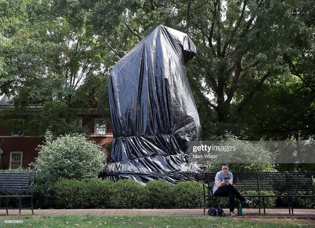 The statue of Thomas Jonathan 'Stonewall' Jackson stands covered by a black tarp as it stands in Justice Park, formerly known as Jackson Park, on August 23, 2017 in Charlottesville, Virginia. The statue was covered today after the Charlottesville city council voted unanimously to cover Confederate statues in black tarp.