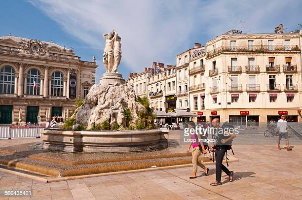 The Statue of Three Graces in La Place de la Comedie in the city centre of Montpellier