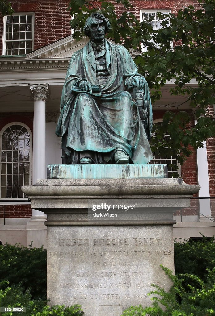 The statue of US Supreme Court Chief Justice Roger Brooke Taney sits in front of the Maryland State House, on August 16, 2017 in Annapolis, Maryland. Maryland Governor Larry Hogan has called for the removal of the statue. Taney was the author of the Dred Scott decision.
