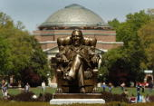 The statue of Washington Duke on Duke University's East Campus with Baldwin Auditorium is shown April 11 2006 in Durham North Carolina The...