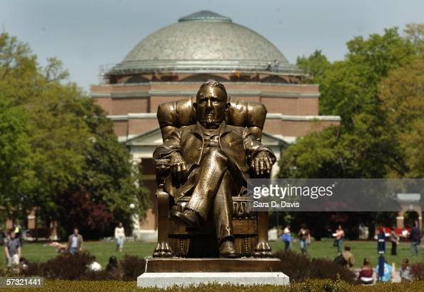 The statue of Washington Duke on Duke University's East Campus with Baldwin Auditorium is shown April 11 2006 in Durham North Carolina The...