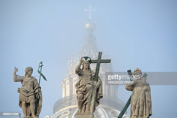 The statues at the top of St Peter's basilica are in the fog during the weekly general audience of Pope Francis at St Peter's square on November 11...