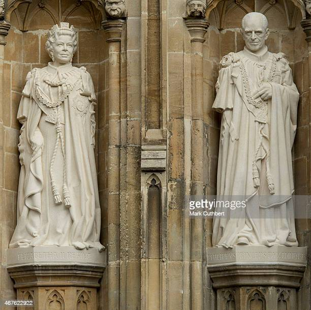 The statues of Queen Elizabeth II and Prince Philip Duke of Edinburgh unveiled by Queen Elizabeth II at Canterbury Cathedral on March 26 2015 in...