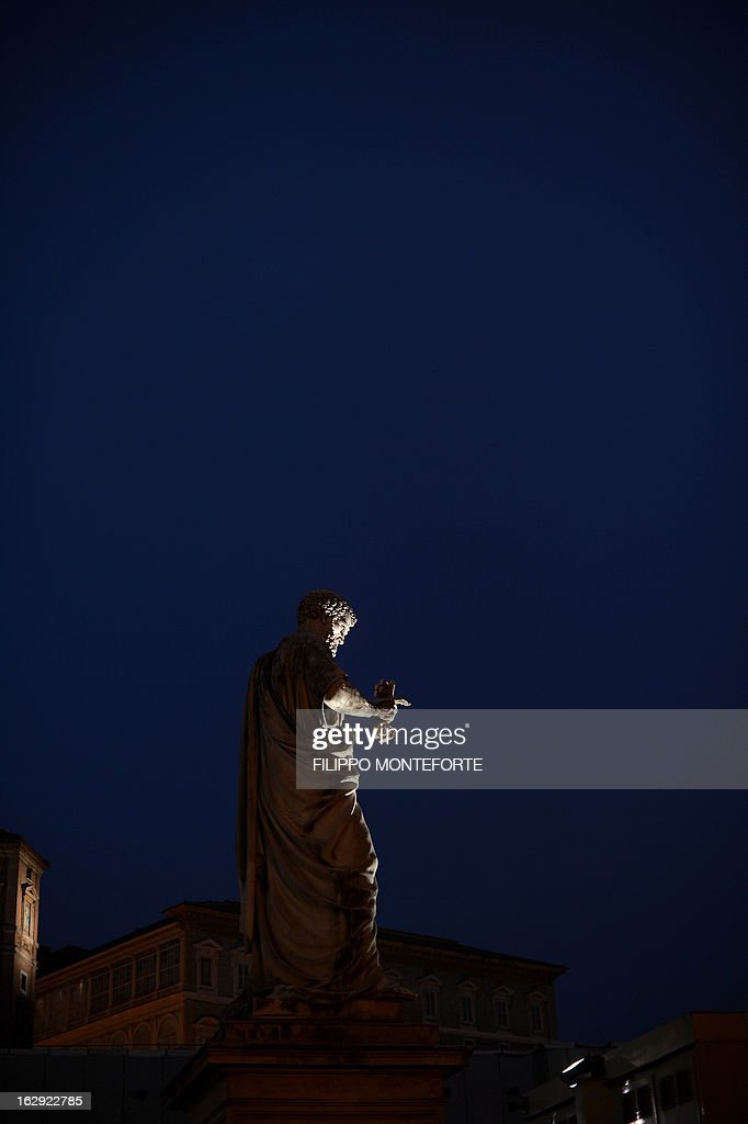 The staue of St Peter is seen at the St.Peter's Square in Vatican on March 01, 2013. Pope Benedict XVI has become the day before the first pope to resign in over 700 years, telling a tearful crowd of faithful that he will now be 'a simple pilgrim' as cardinals on Friday begin preparing for a conclave in the Sistine Chapel to elect his successor.