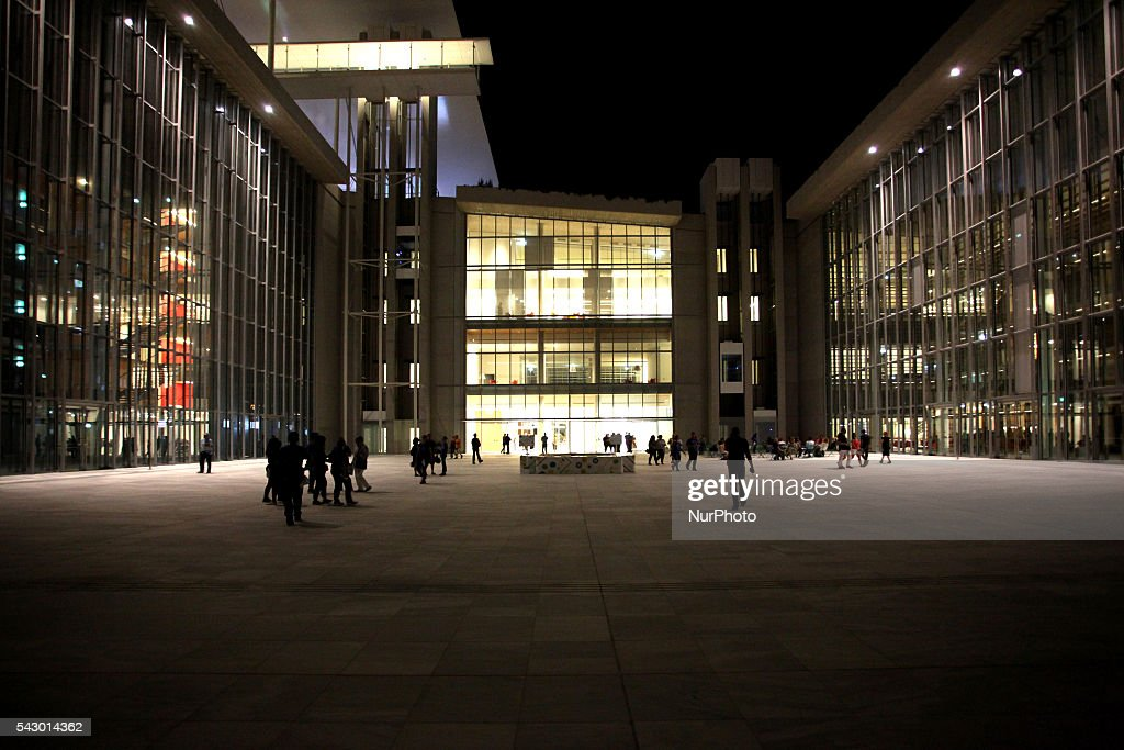The Stavros Niarchos Foundation Cultural Center (SNFCC) comes to life through the event Metamorphosis in Athens, Greece, June 24, 2016. The SNFCC is a multifunctional and environmentally sustainable education, arts and recreation destination. It includes the new state of the art facilities of the National Library of Greece, the Greek National Opera and the Stavros Niarchos Park, covering an area of 210,000 sqm.