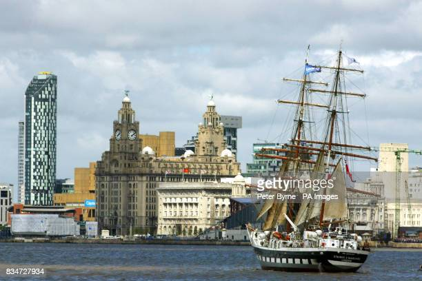 The Stavros S Niarchos on the River Mersey as part of the Tall Ships race in Liverpool for the Capital of Culture celebrations