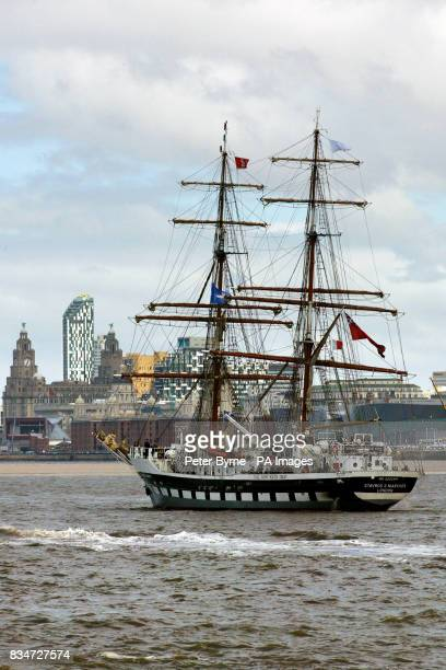 The Stavros S Niarchos one of the tall ships on the River Mersey in Liverpool competing in the Tall Ships racePRESS ASSOCIATION Photo
