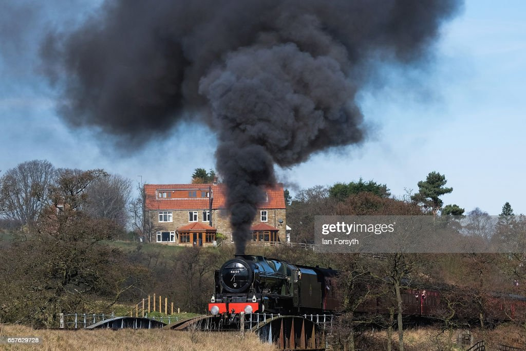 The Royal Scot Steam Engine arrives on the North Yorkshire Moors Railway