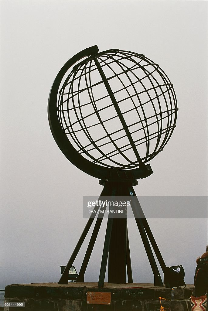 The steel globe on North Cape Mageroya island Finnmark county Norway