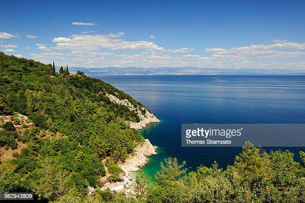 The steep coast of Istria, near Lovran, Istria, Croatia