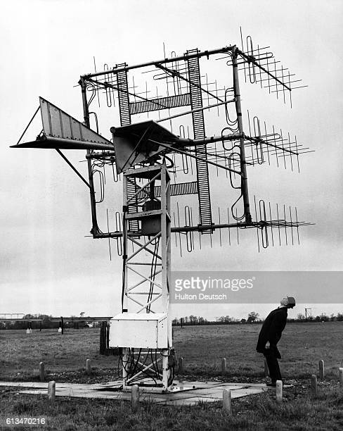 The steerable telemetry aerial used for receiving the results of experiments in satellites at the Department of Scientific and Industrial Research...