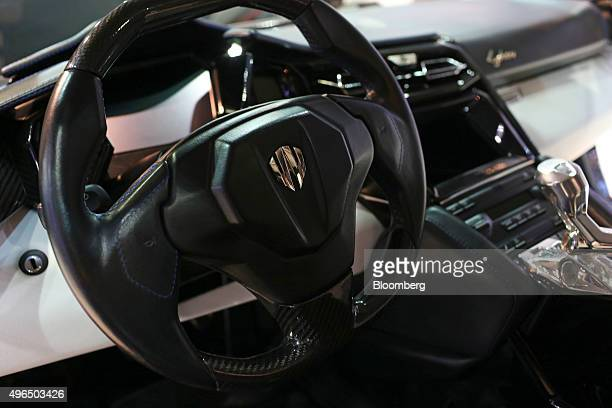 The steering wheel and gear stick of a display model Fenyr SuperSport super car manufactured by W Motors sits on display during the Dubai Motor Show...