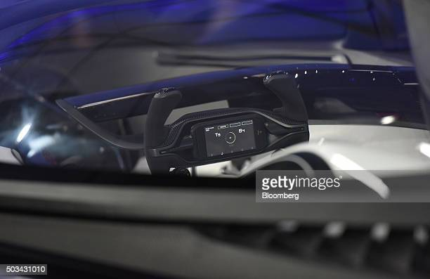 The steering wheel is seen inside the Faraday Future Inc FFZero1 concept vehicle unveiled during the 2016 Consumer Electronics Show in Las Vegas...