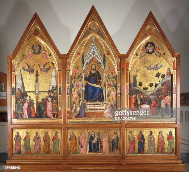 The Stefaneschi Triptych front ca 1320 by Giotto tempera on panel central panel 178x89 cm 168x83 cm side panels
