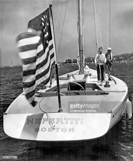 The stern view of the new $300000 entry into the quest for the America's Cup Marblehead Massachusetts 1962