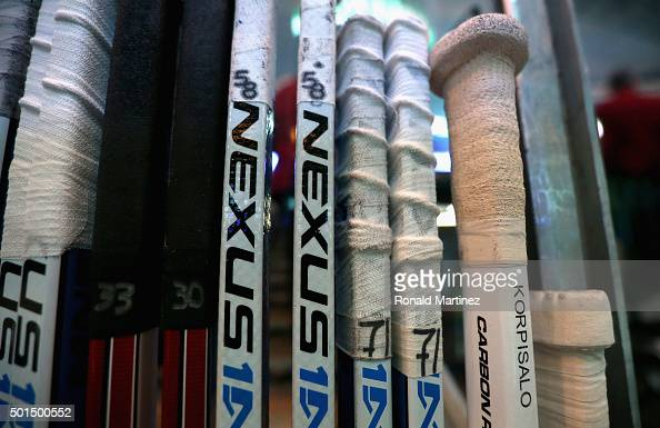 The stick of Joonas Korpisalo of the Columbus Blue Jackets before a game against the Dallas Stars at American Airlines Center on December 15 2015 in...