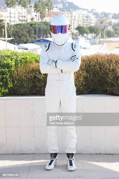 The Stig attends photocall for 'Top Gear America' as part of MIPCOM 2017 at the Palais des Festivals on October 17 2017 in Cannes France