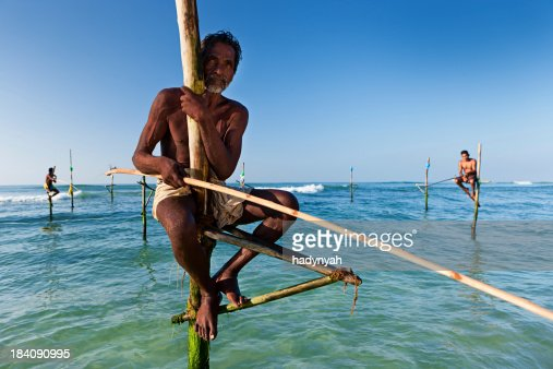 'The stilt fishermen at work, Sri Lanka, Asia.'
