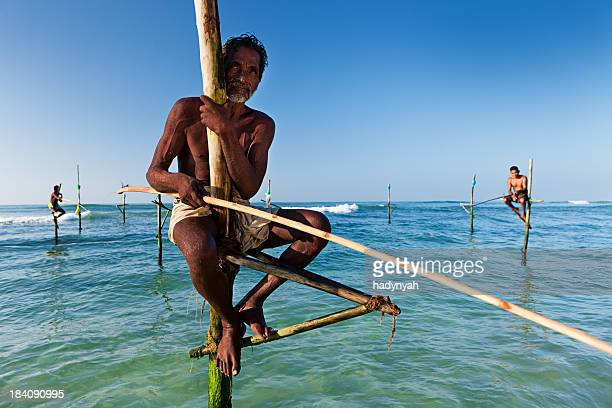 The stilt fishermen at work, Sri Lanka, Asia.