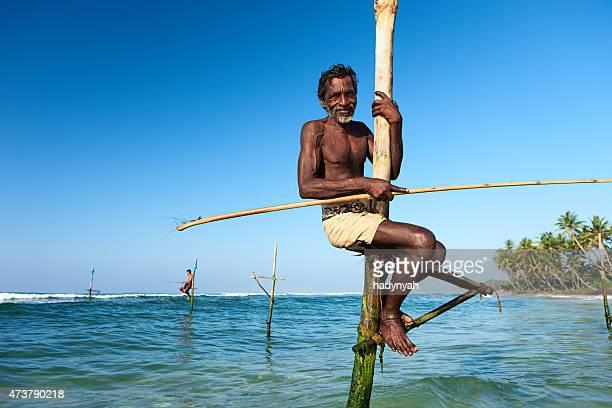 Les pêcheurs sur pilotis au travail, Sri Lanka, l'Asie.