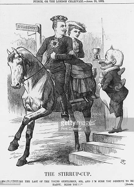 'The Stirrupcup' 1882 Mr Punch raises the stirrupcup in a toast to Prince Leopold Duke of Albany and Queen Victoria's youngest and lastmarried son On...