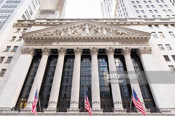 The Stock Exchange building at Wall Street and Broad Street New York USA