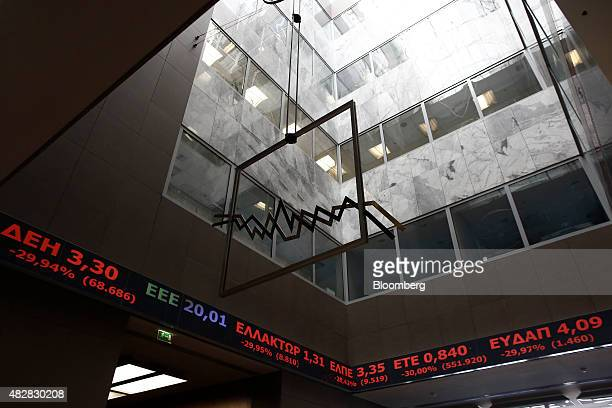 The stock price ticker screen indicates the latest prices following the reopening of the Athens Stock Exchange in Athens Greece on Monday Aug 3 2015...