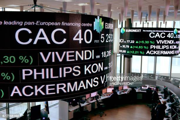 The stock tickers and financial display are pictured at the headquarters of the PanEuropean stock exchange Euronext in La Defense district near Paris...