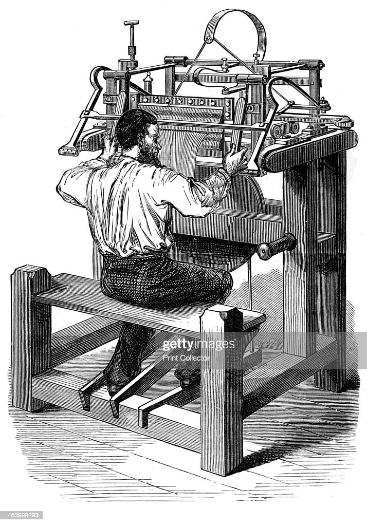 the stocking frame c1880 textiles worker using a mechanical knitting machine a print