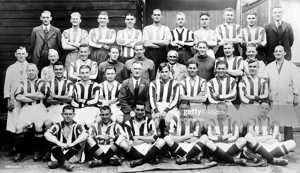 The Stoke City football team pictured prior to the 19371938 season circa August 1937 The team includes Stanley Matthews second row seated 3rd from...