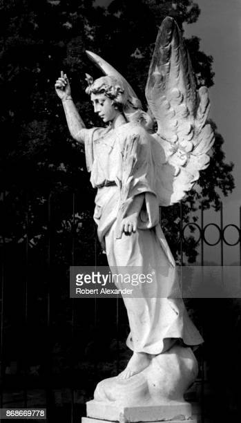 The stone angel which inspired the title of Thomas Wolfe's autobiographical 1929 novel 'Look Homeward Angel' stands in Oakdale Cemetery in...