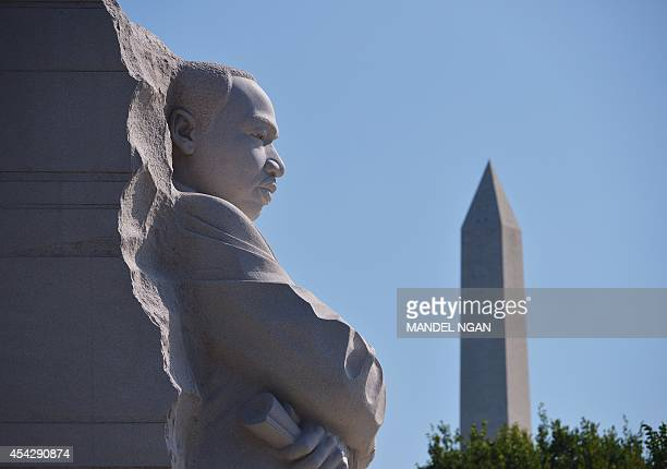 'The Stone of Hope' statue is seen at the Martin Luther King Jr Memorial on August 28 2014 in Washington DC AFP PHOTO/Mandel NGAN