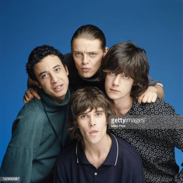 The Stone Roses posed in a London studio in July 1990 LR Reni Mani Ian Brown John Squire