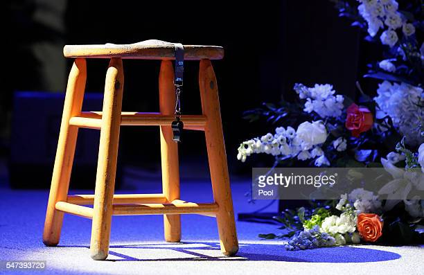 The stool and whistle used by Tennessee women's basketball coach Pat Summitt are displayed on the stage in ThompsonBoling Arena before a ceremony...