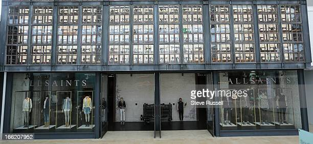 The store front goes from the ground to the top of the mall with their display of vintage sewing machines as the UK fashion retailer AllSaints open a...