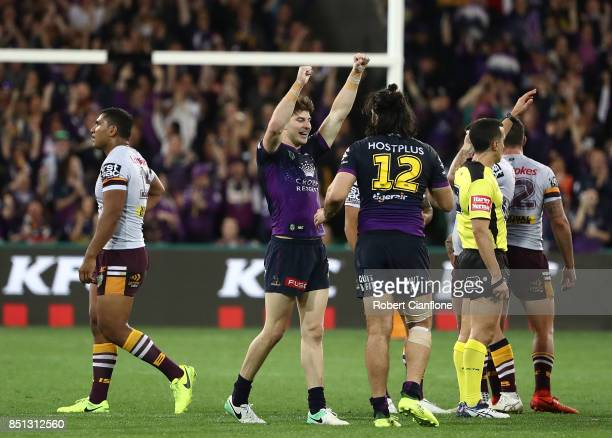 The Storm celebrate after they defeated the Broncos during the NRL Preliminary Final match between the Melbourne Storm and the Brisbane Broncos at...